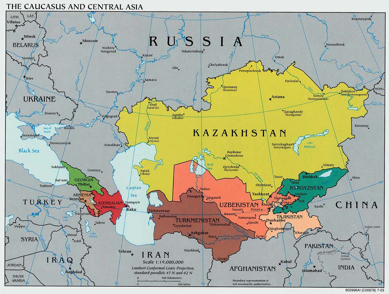Map of Causasus Central Asia (Political Map) : Worldofmaps.net ...