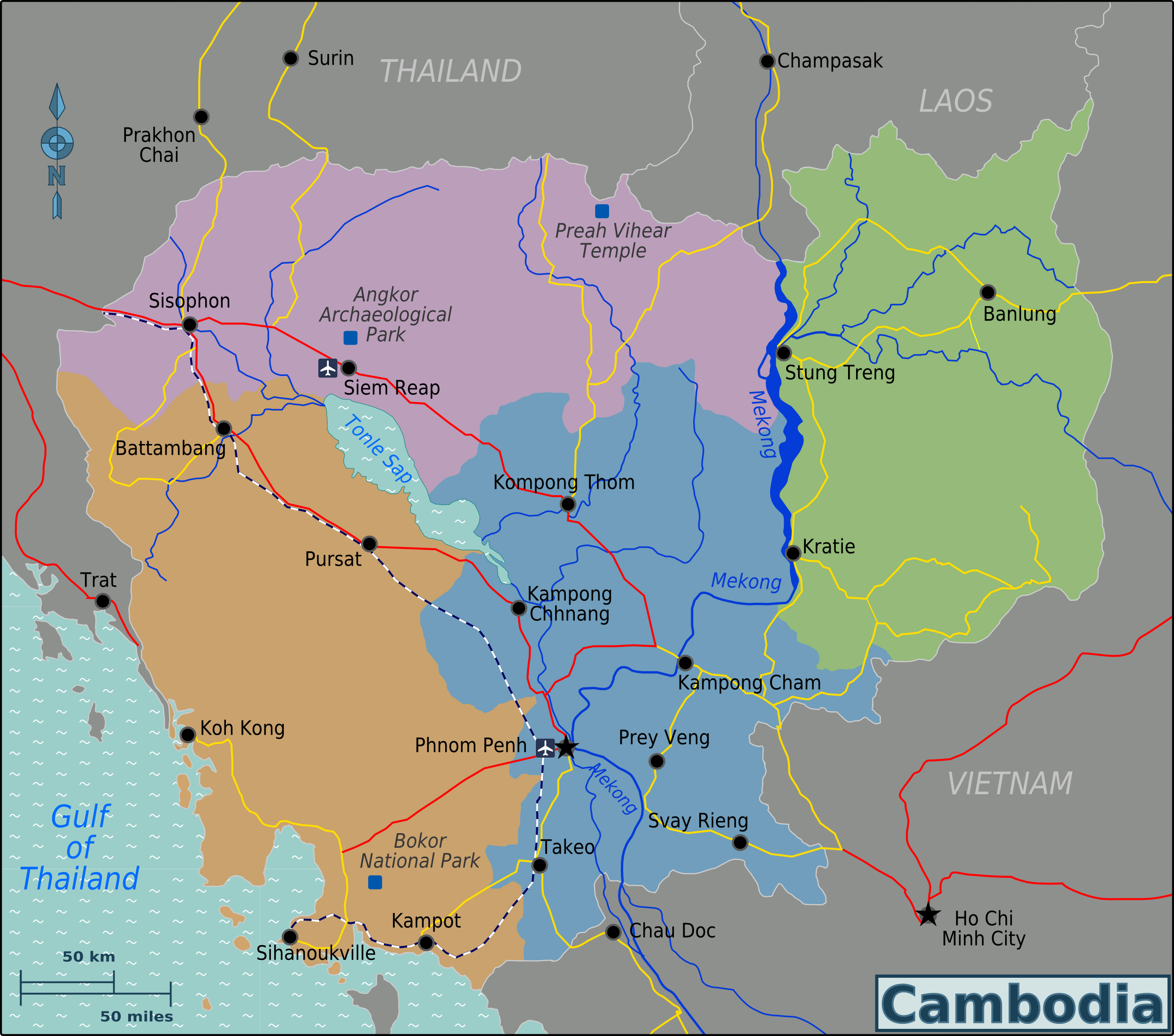 Map of Cambodia Map Regions online Maps and Travel Info