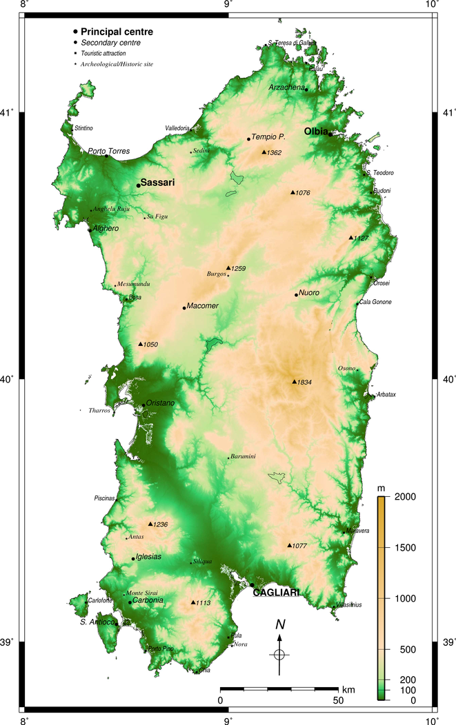 Map Of Sardinia Physical Geography Of Sardinia