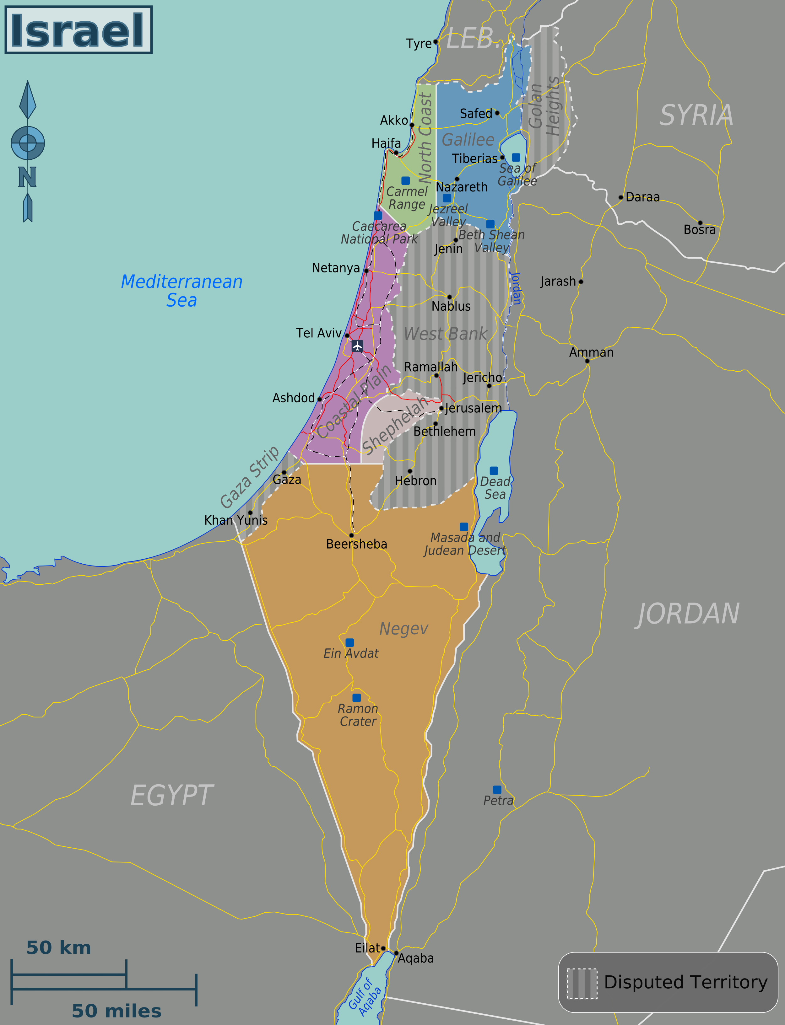 Map of Israel Regions online Maps and Travel Information