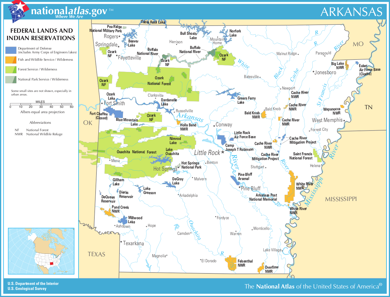 Map Of Arkansas Map Federal Lands And Indian Reservations - Arkansas map usa