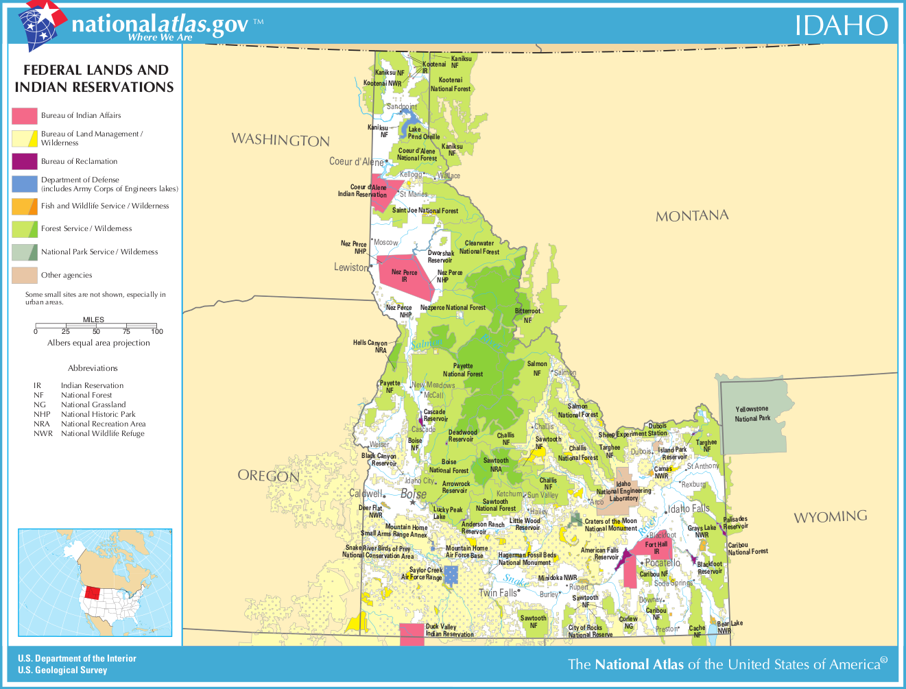 Map Of Idaho Map Federal Lands And Indian Reservations - Map of idaho