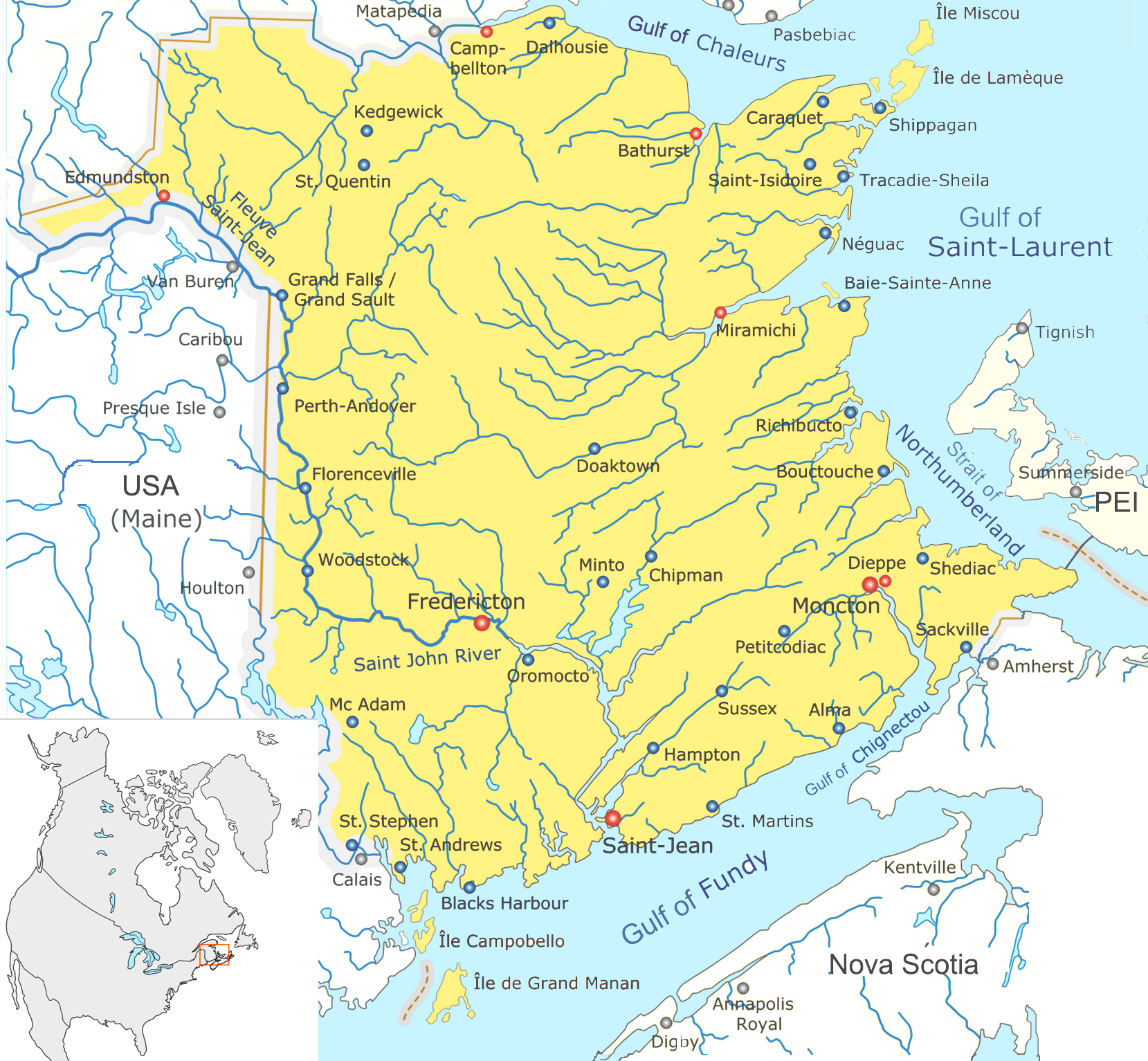 Map Of New Brunswick (Map Cities) : Worldofmaps.net