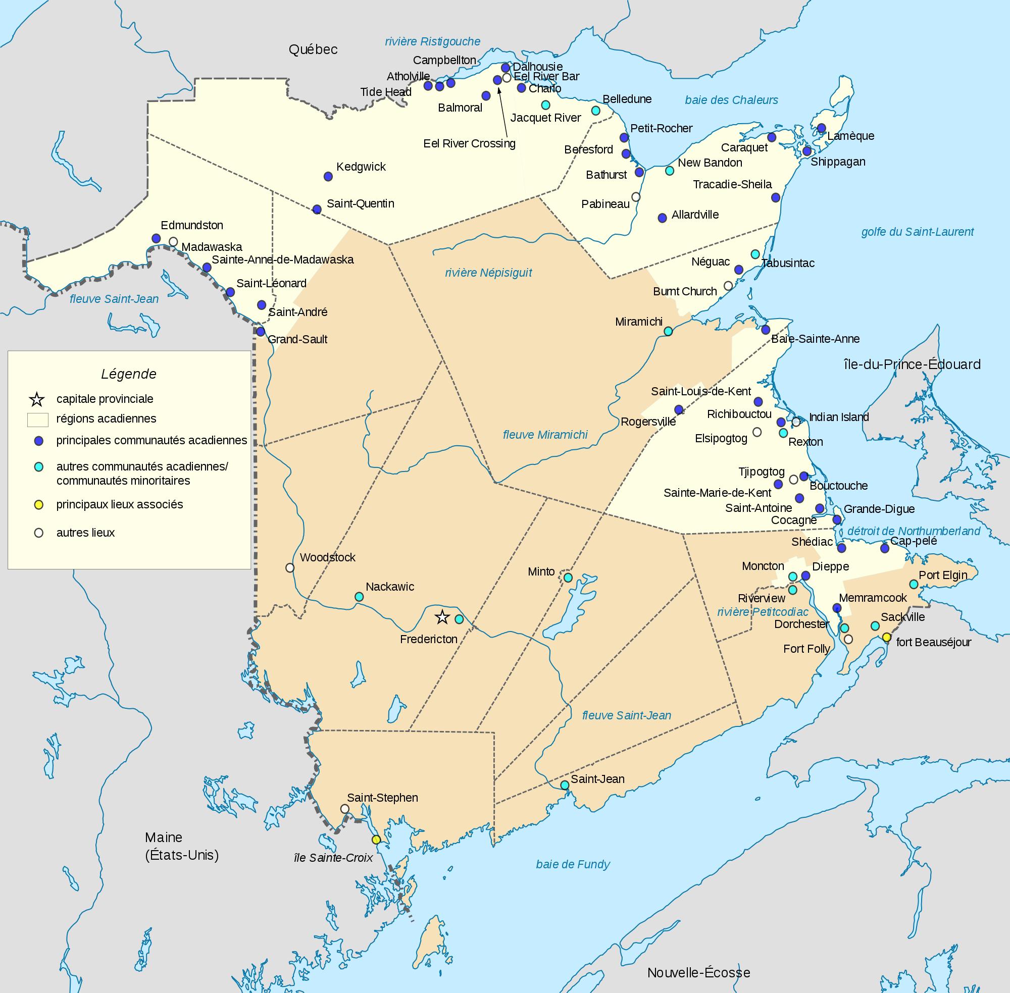 Map of New Brunswick (Overview Map) : Worldofmaps.net
