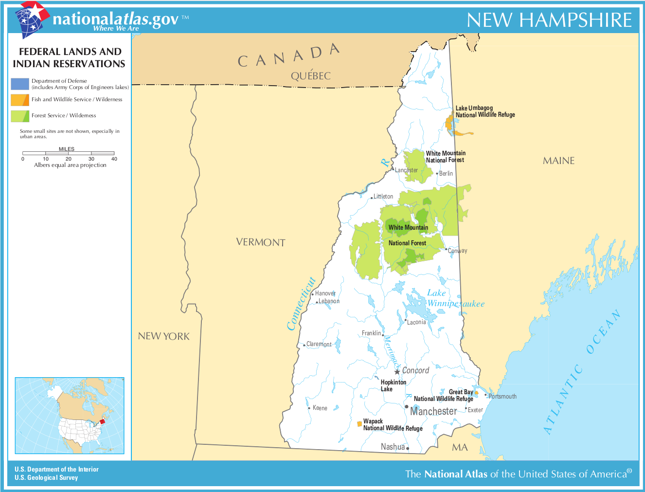 Map of New Hampshire (Map Federal Land and Indian Reservations ...