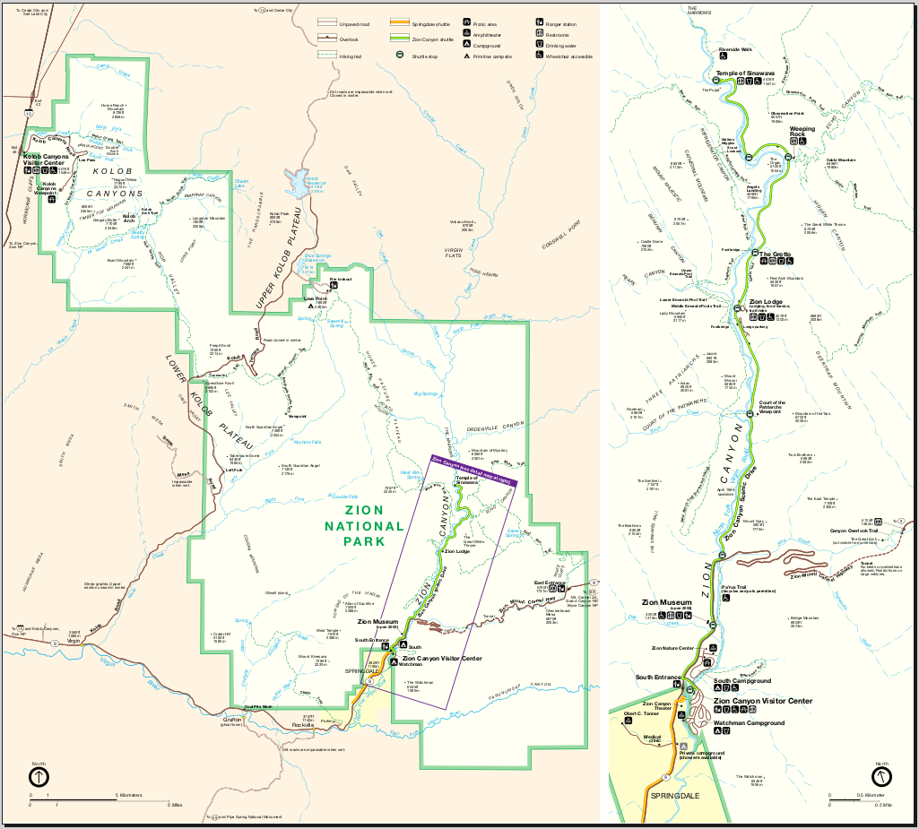 map of zion national park online maps and travel information. Black Bedroom Furniture Sets. Home Design Ideas