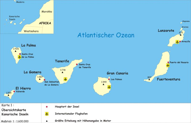 Map canary islands overview map karten for Ist island in der eu