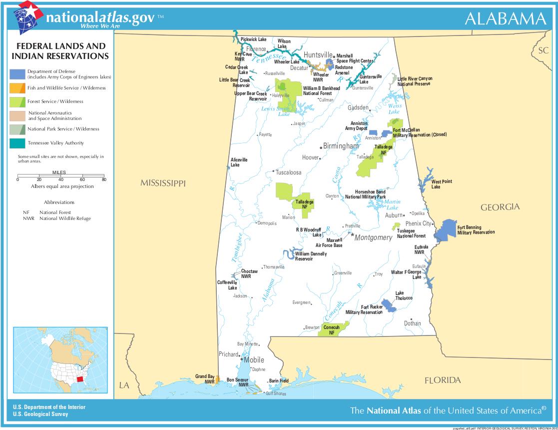 alabama karte Map of Alabama (Map Federal Lands and Indian Reservations  alabama karte