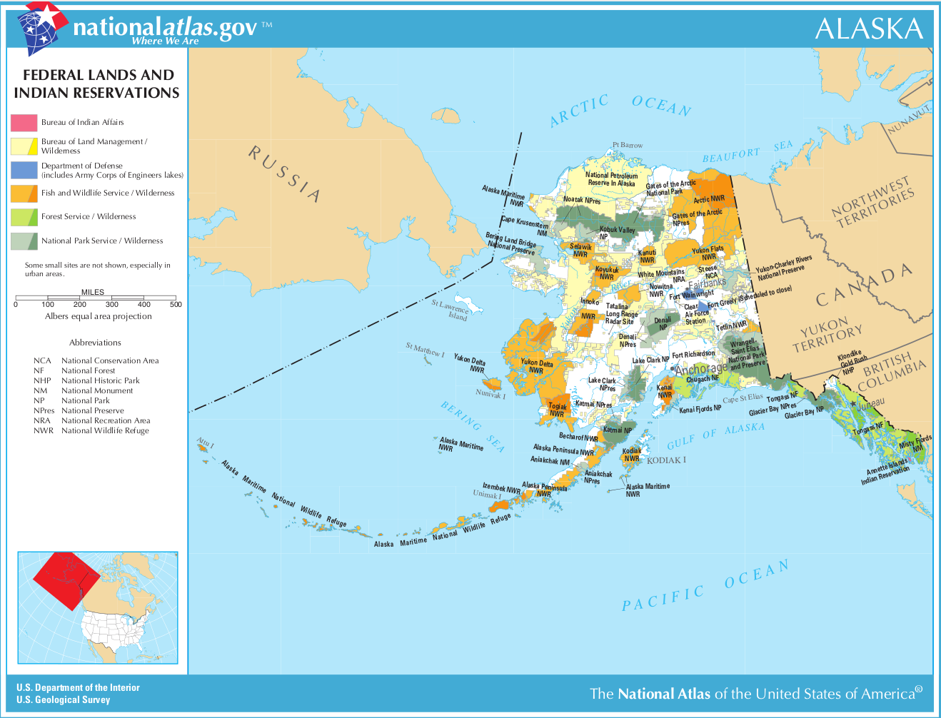 Map of Alaska (Map Federal Lands and Indian Reservations ...