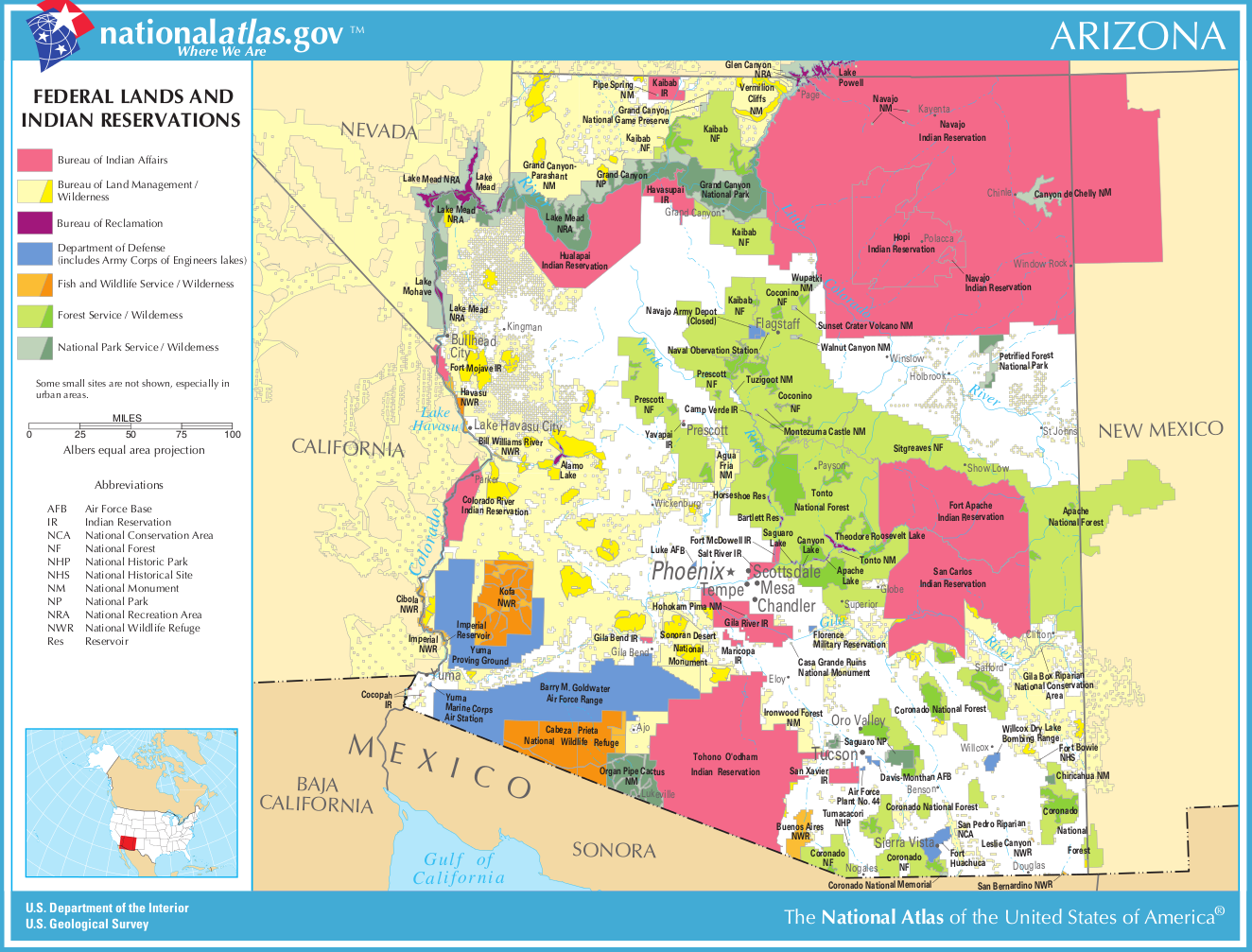 Indian Reservations In Arizona Map Map of Arizona (Map Federal Lands and Indian Reservations