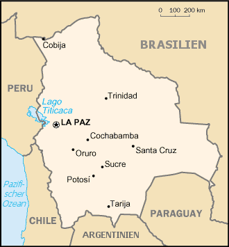 Map of Bolivia (Small Overview Map) : Worldofmaps.net - online Maps ...