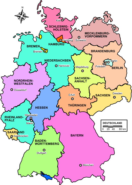 Map of Germany (States of Germany) : Weltkarte.com - Karten und ...
