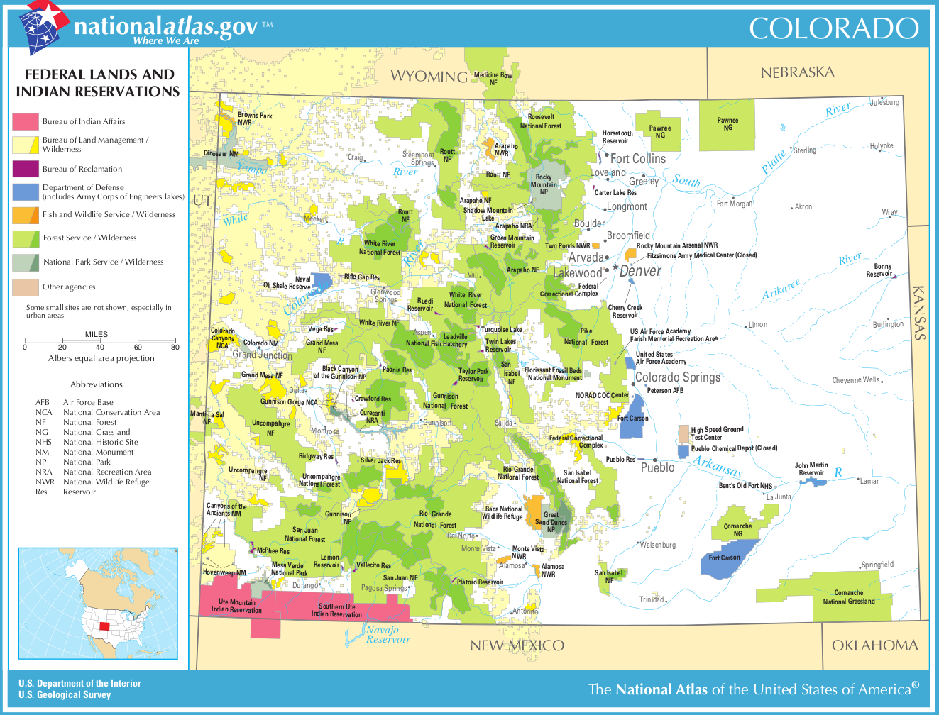 Map of Colorado (Map Federal Lands and Indian Reservations ...