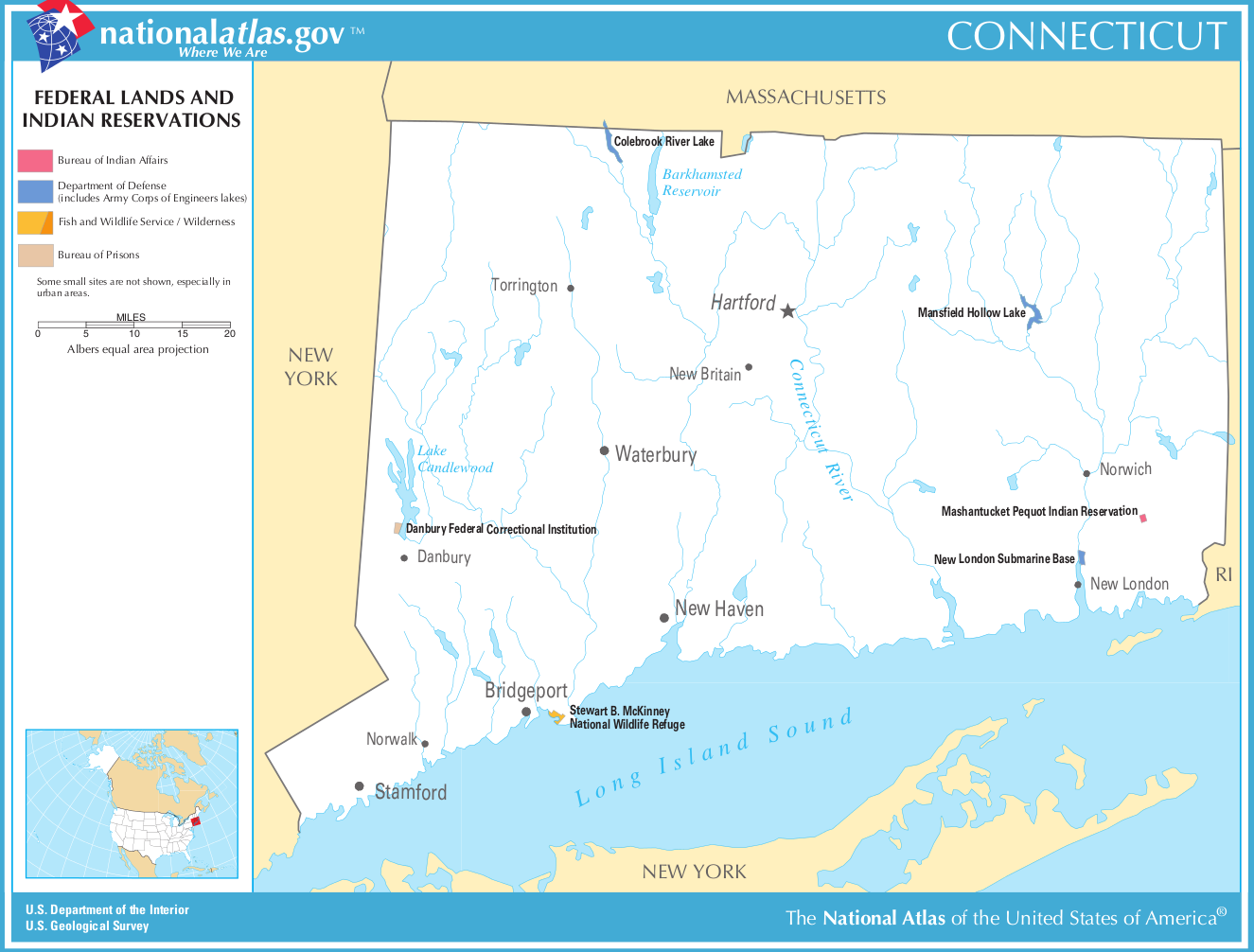 Map of Connecticut (Map Federal Lands and Indian Reservations ...