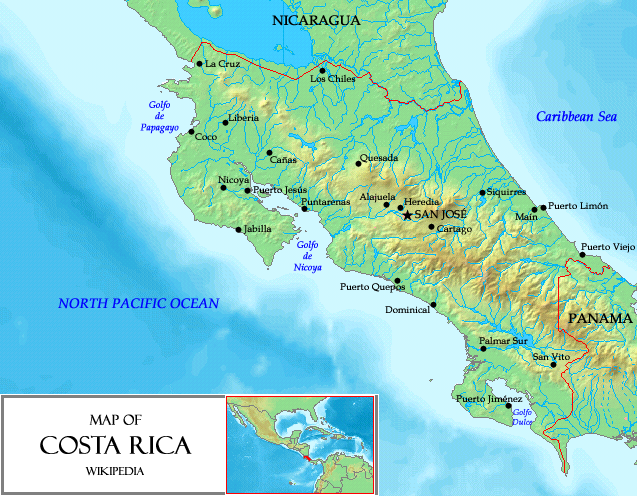 Map of Costa Rica (Relief Map) : Worldofmaps.net - online Maps and ...