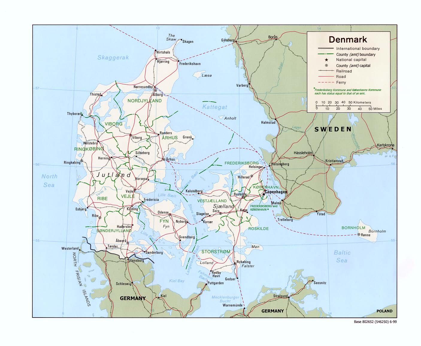 Map of Denmark (Political Map) : Weltkarte.com - Karten und ...