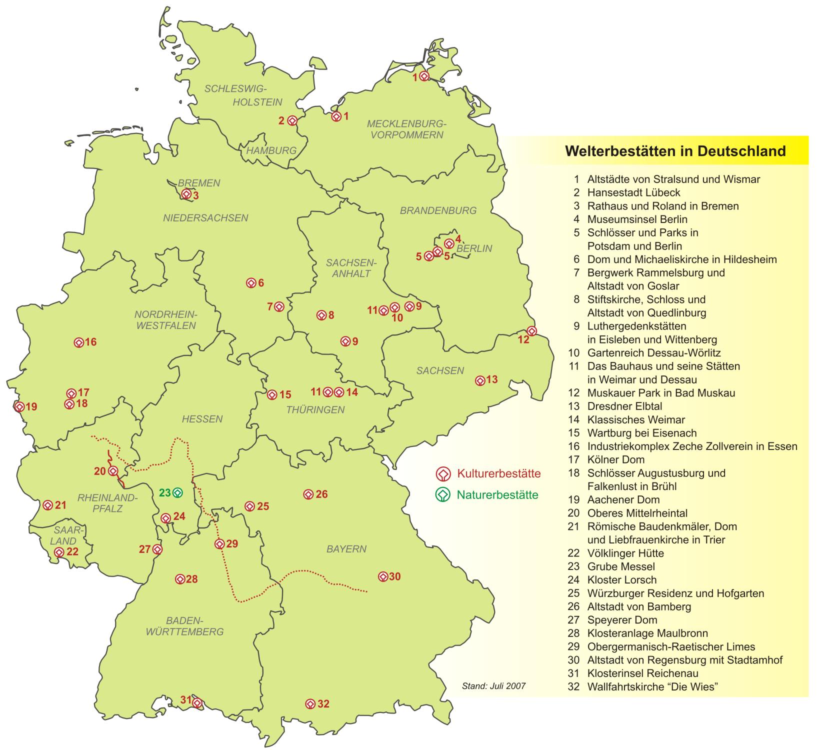Map of Germany (Heritage Sites in Germany) : Weltkarte.com - Karten ...