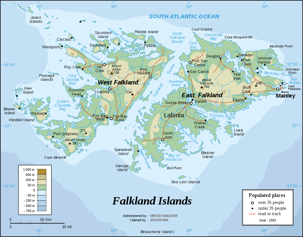 Map of Falkland Islands : Worldofmaps.net - online Maps and ...
