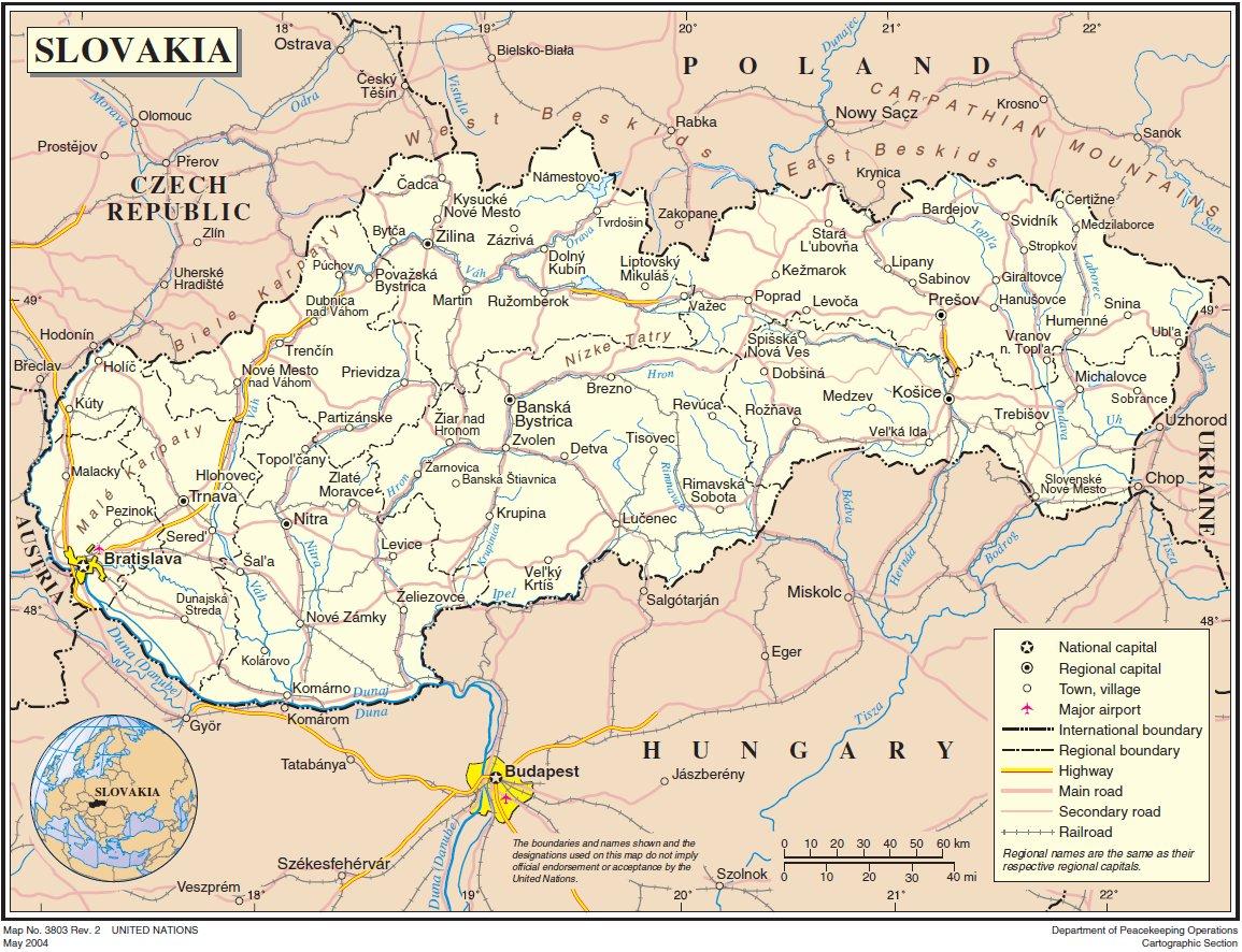 Map of Slovakia (General Map) : Weltkarte.com - Karten und ...