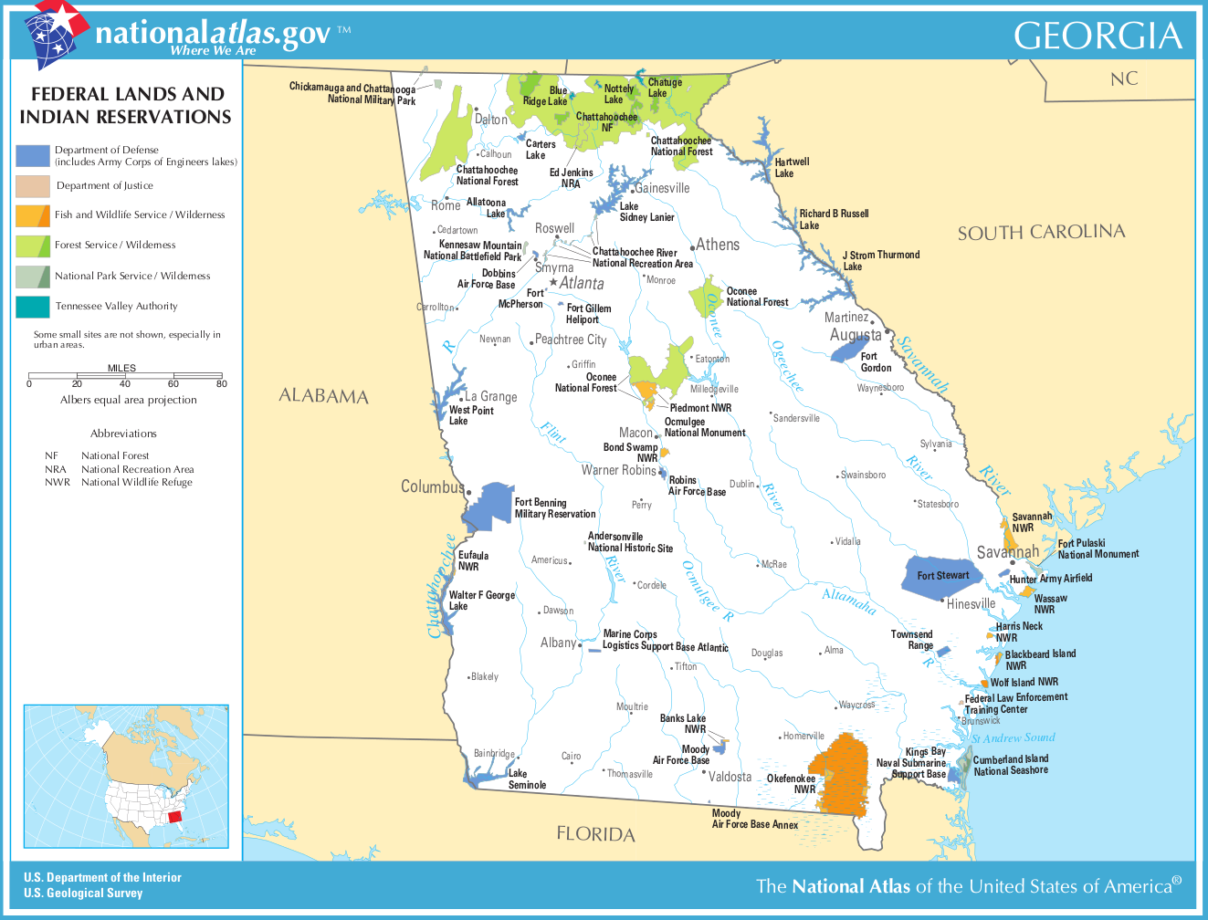 Map Of Georgia Map Federal Lands And Indian Reservations - Georgia map peachtree city
