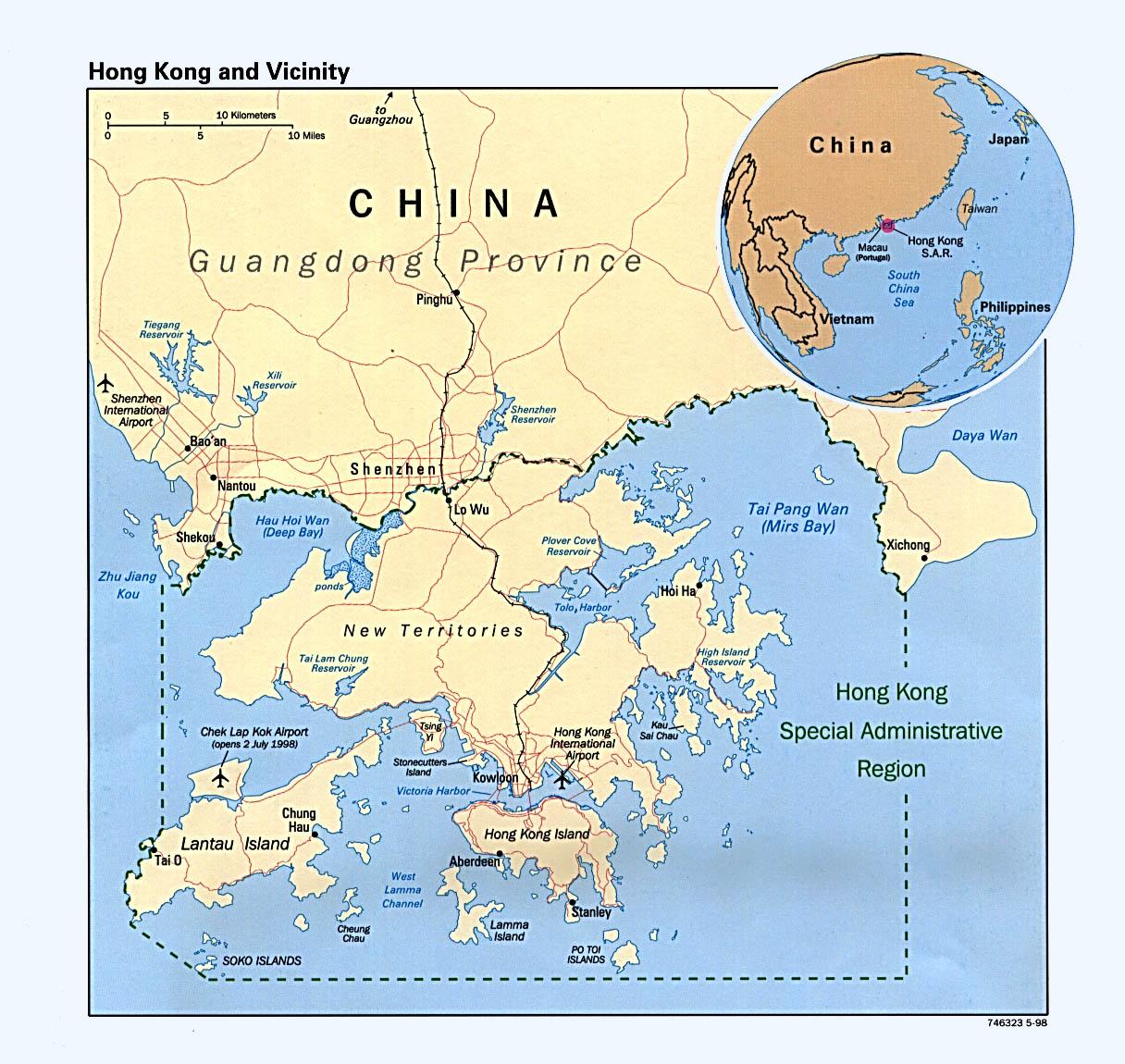 Map of Hong Kong (Political Map) : Weltkarte.com - Karten und ...