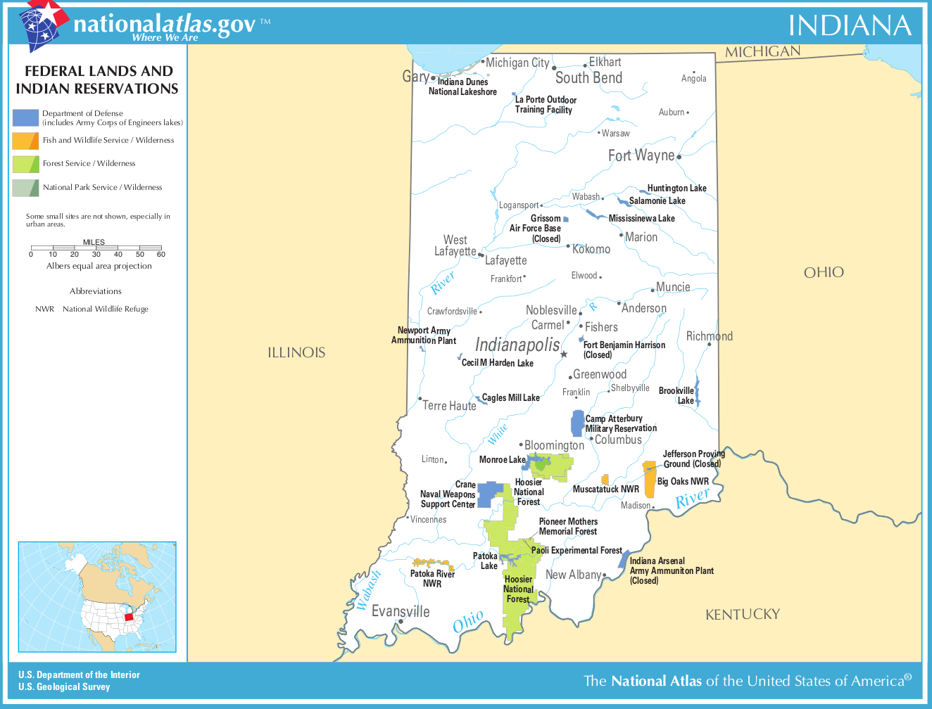 Map of Indiana Map Federal Lands and Indian Reservations – Indiana Travel Map