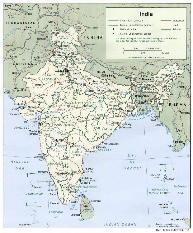 Map of India (Political Map) : Weltkarte.com - Karten und ...