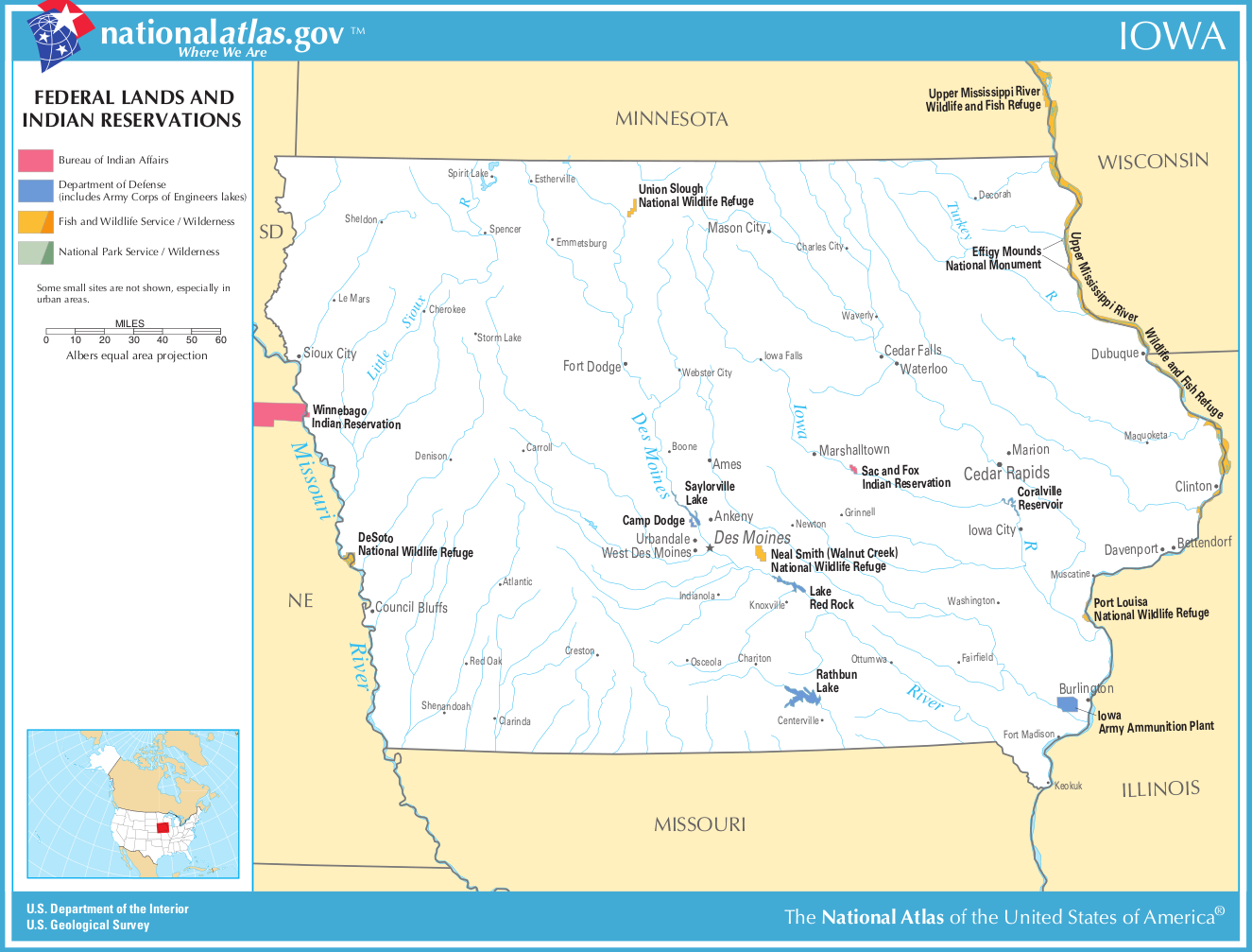 Map Of Iowa Map Federal Lands And Indian Reservations