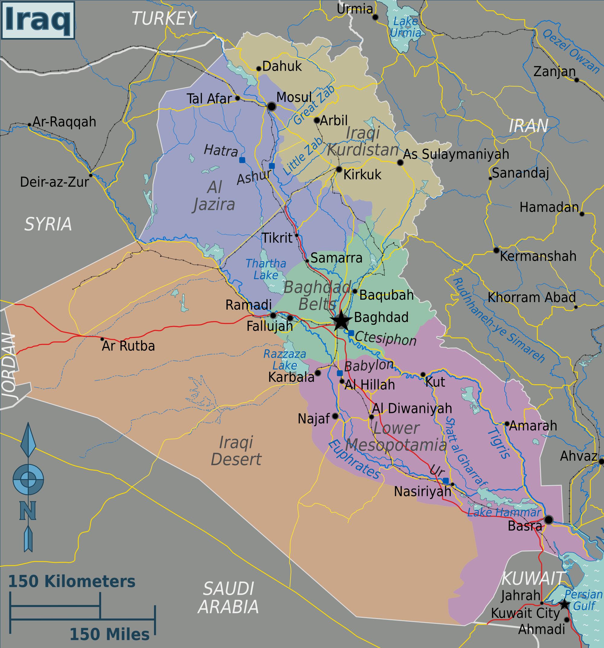 Map of Iraq (Regions) : Worldofmaps.net - online Maps and ...