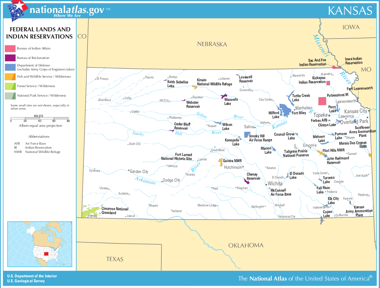 Map Of Kansas Map Federal Lands And Indian Reservations - Map of kansas
