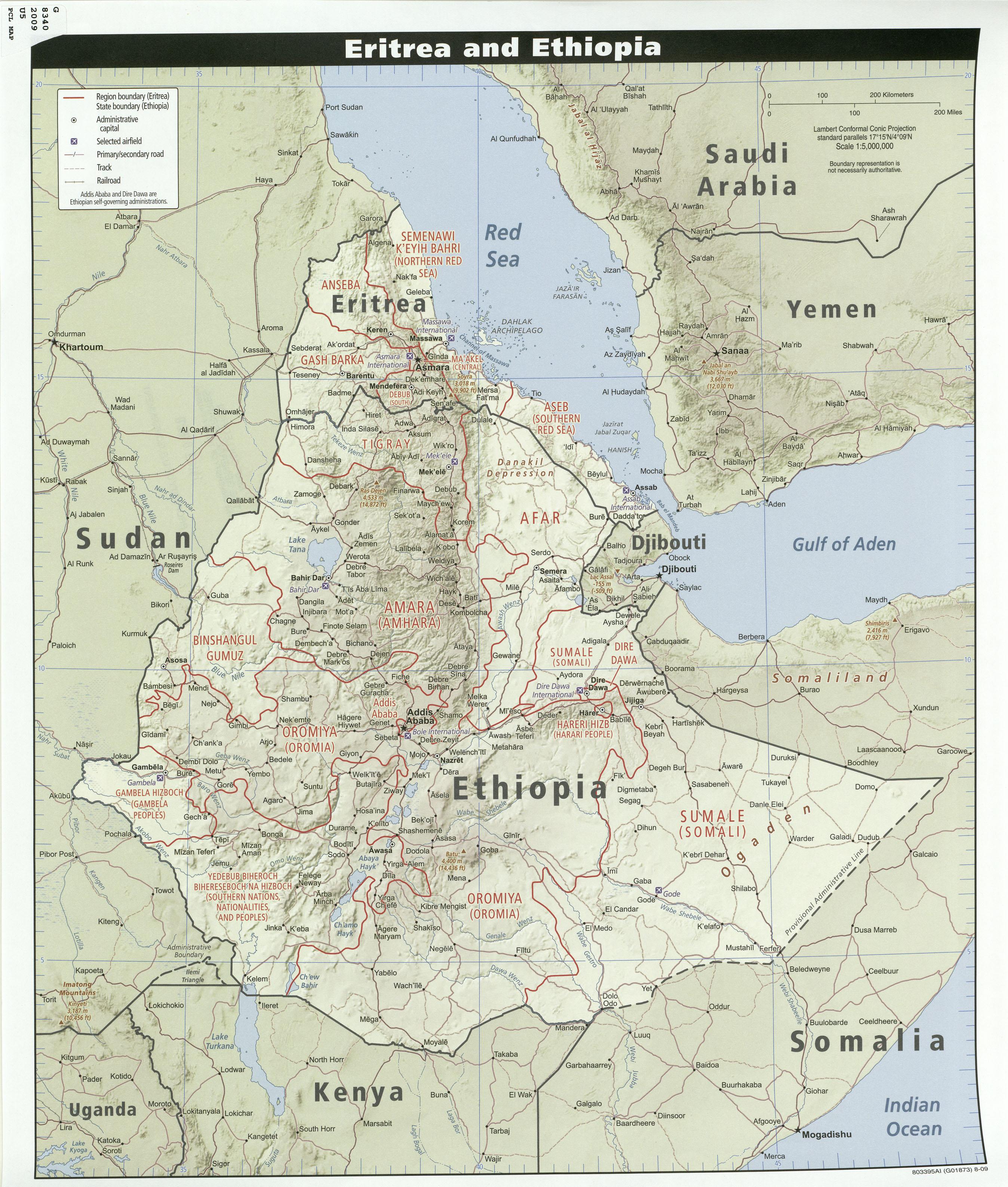 Map of Ethiopia and Eritrea (Relief Map) : Weltkarte.com ...