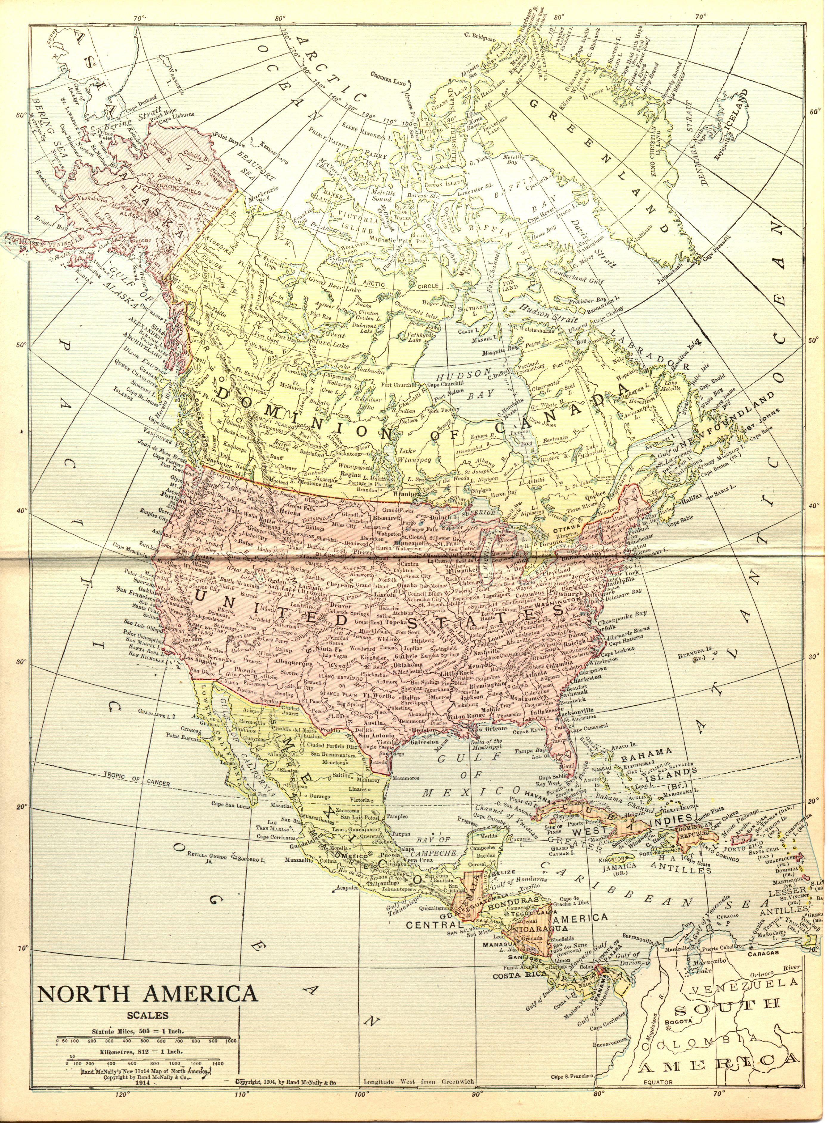 Historic Map Of North America 1914 Weltkarte Com Karten Und