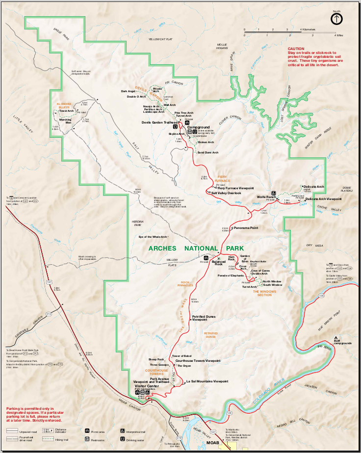Map of Arches National Park : Worldofmaps.net - online Maps ...