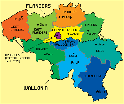 Map of Belgium (Regions) : Worldofmaps.net - online Maps and ...