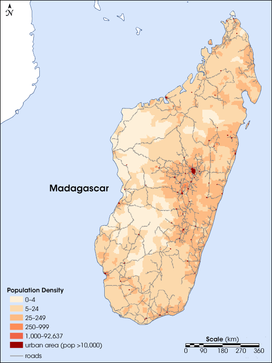 Madagaskar Karte.Map Of Madagascar Population Density Worldofmaps Net