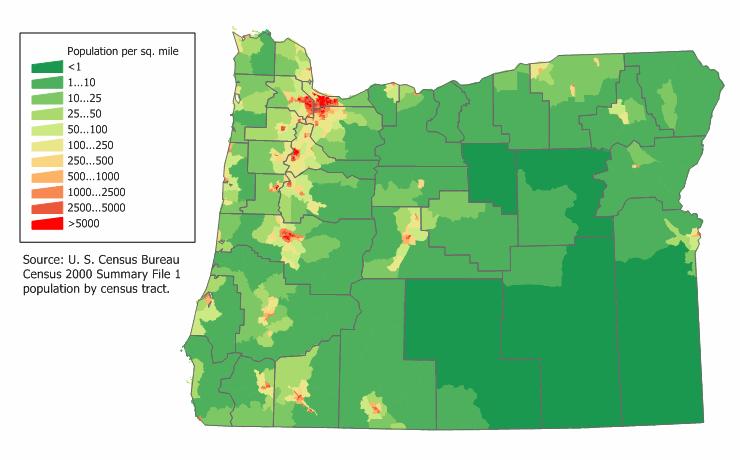 Oregon Population Map Map of Oregon (Map Population Density) : Worldofmaps.  online