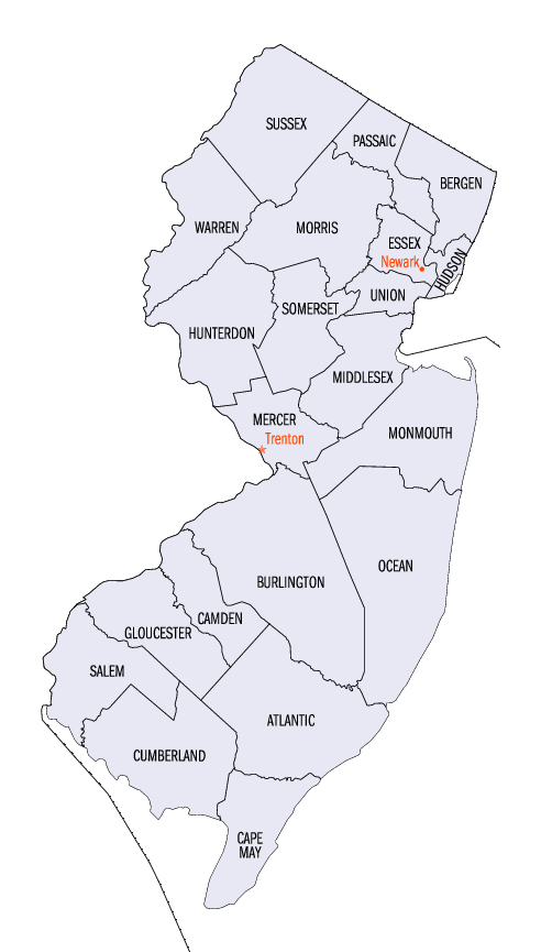 Map of New Jersey (Map Counties) : Worldofmaps.net - online Maps and ...