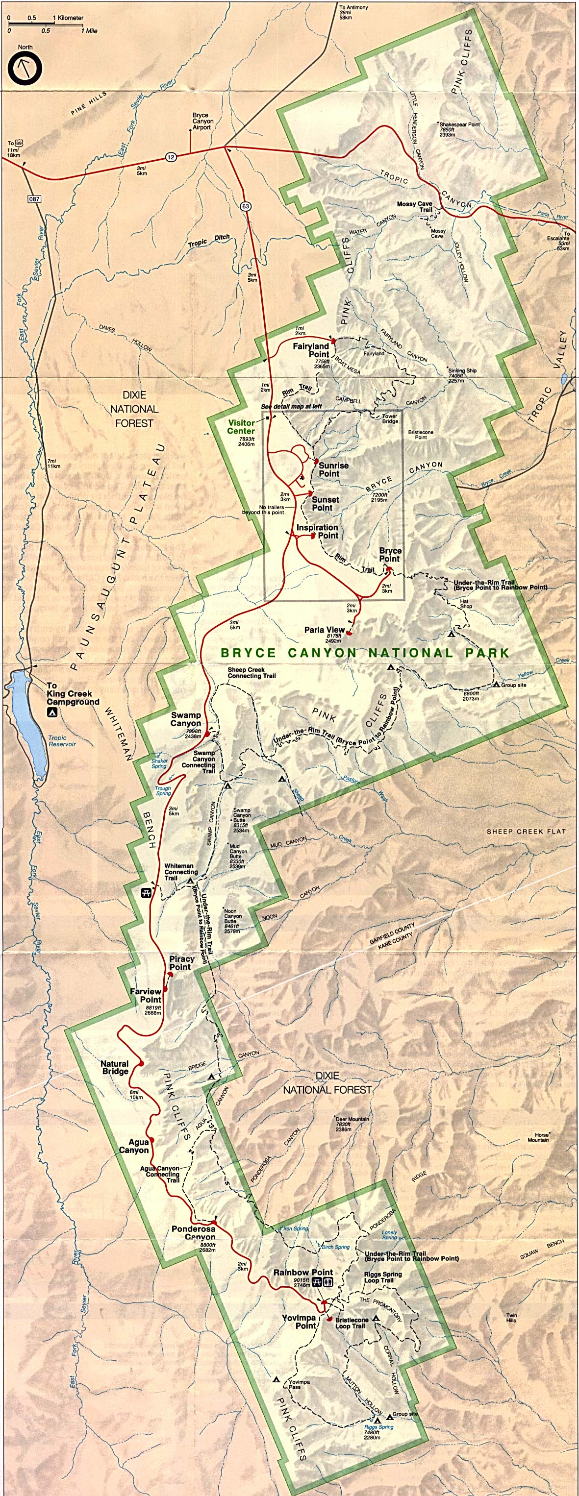 Map of Bryce Canyon National Park : Worldofmaps.net - online ...