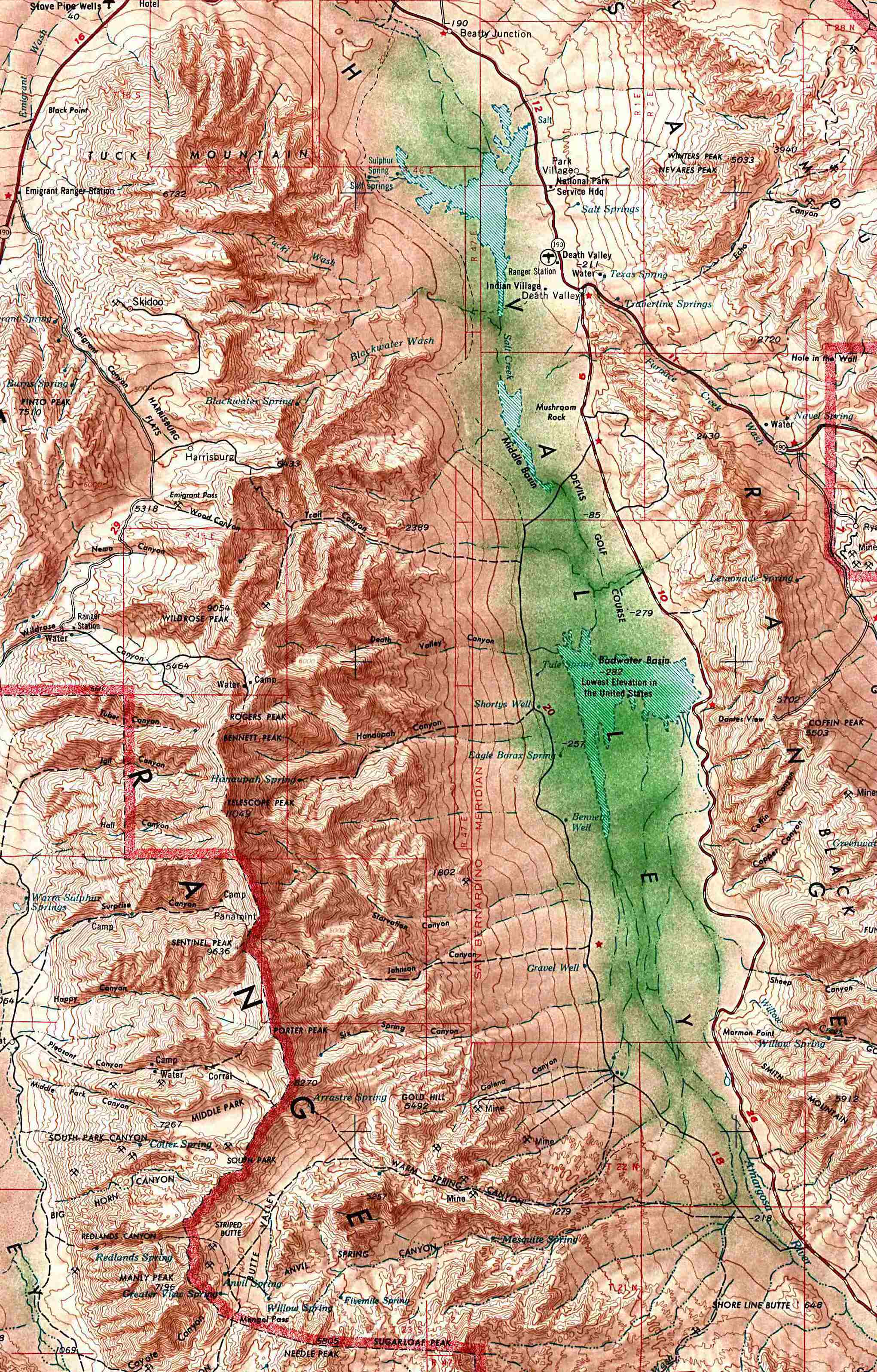 Map Of Death Valley Nationalpark Worldofmaps Net Online Maps