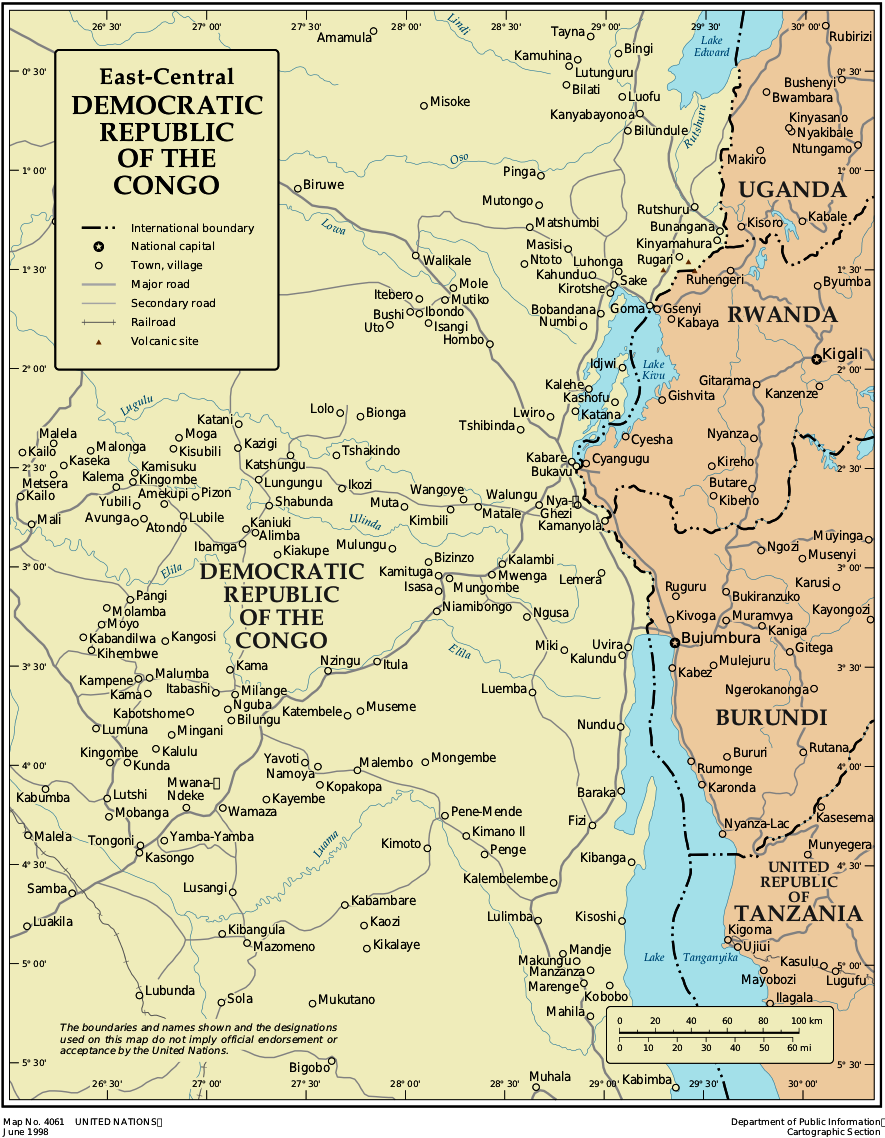 Map of Democratic Republic Congo (Map Central-East ...