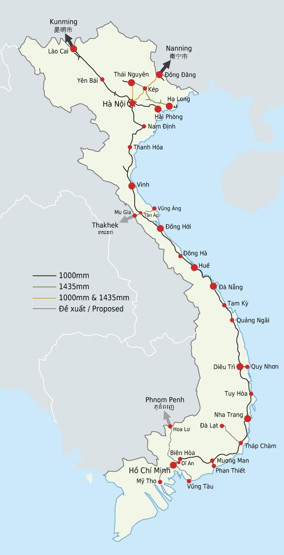 Map of Vietnam (Railway Map) : Weltkarte.com - Karten und ...
