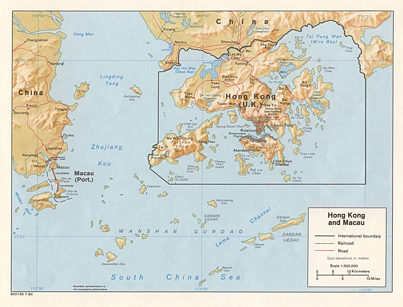 Map of Hong Kong (Relief Map) : Weltkarte.com - Karten und ...