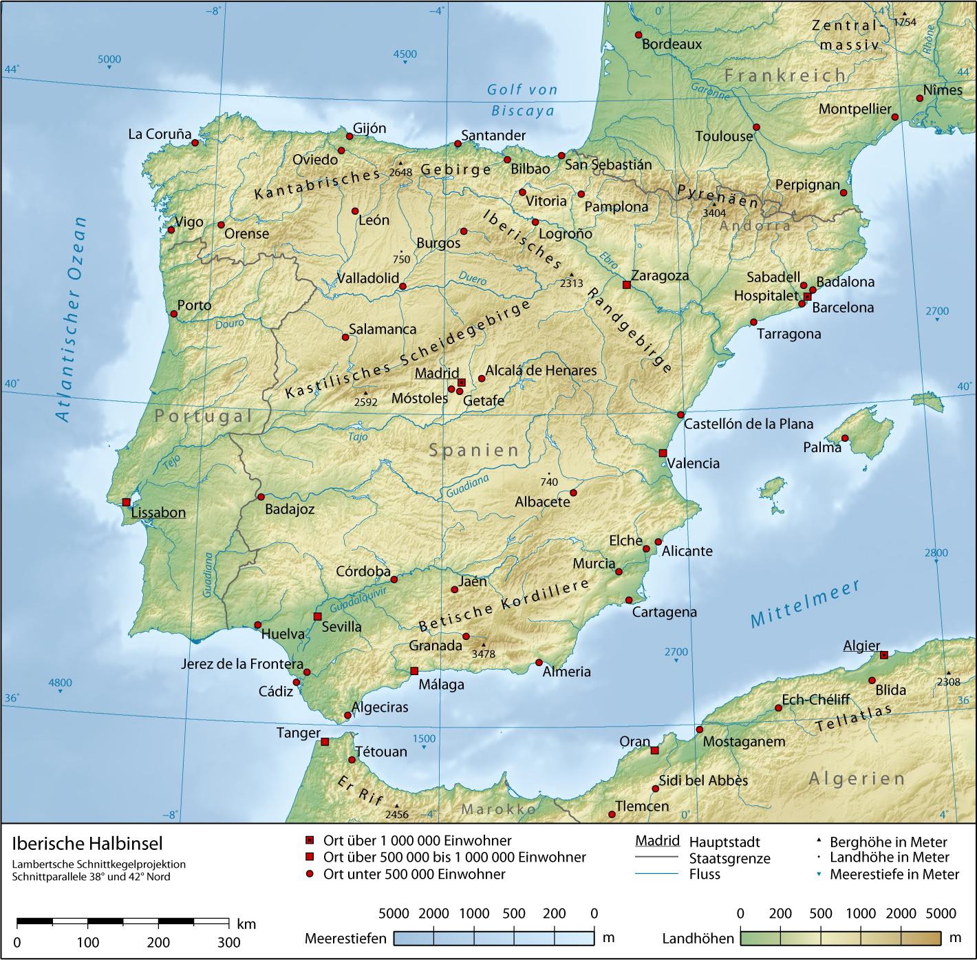 Map of Iberian Peninsula : Worldofmaps.net - online Maps and Travel ...