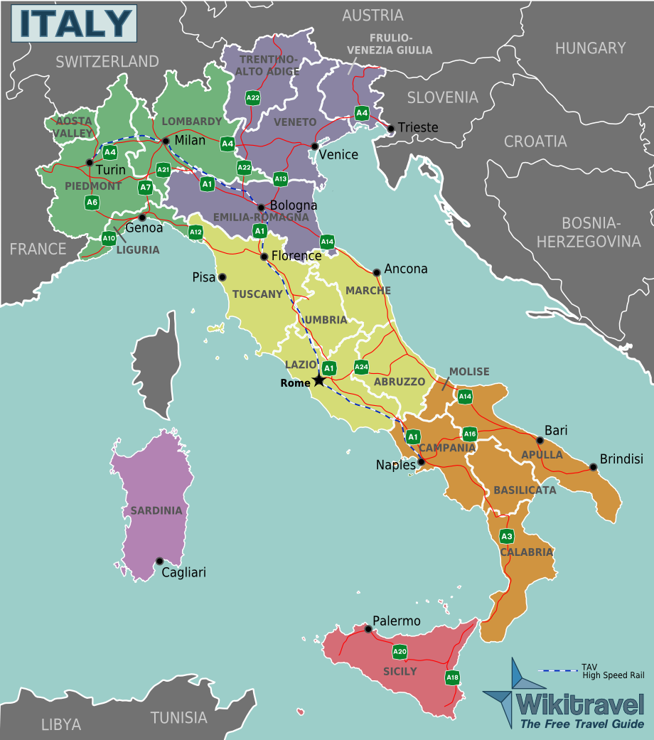 Map of Italy (Regions) : Worldofmaps.net - online Maps and ...