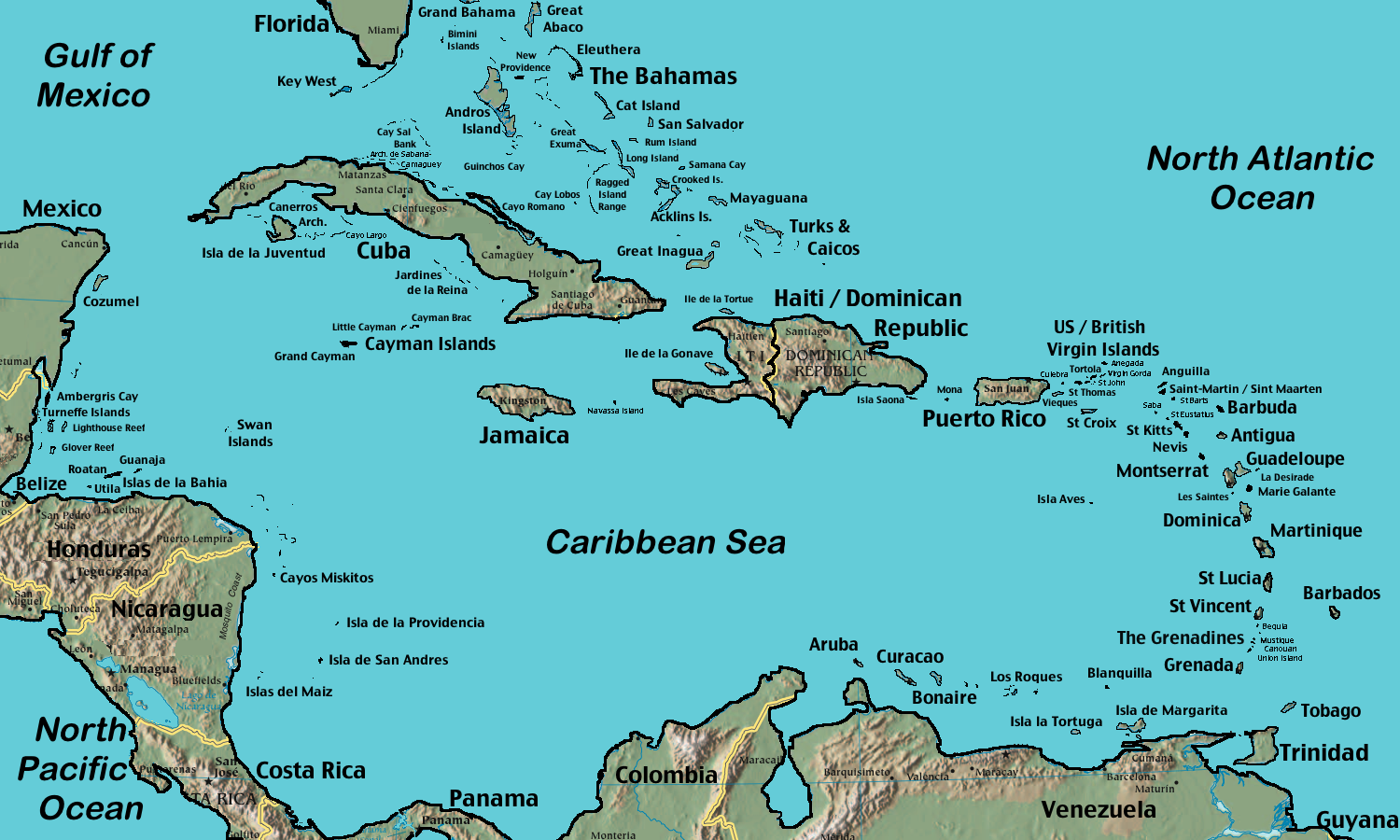 Map of the Caribbean (Relief Map) : Worldofmaps.net - online ...