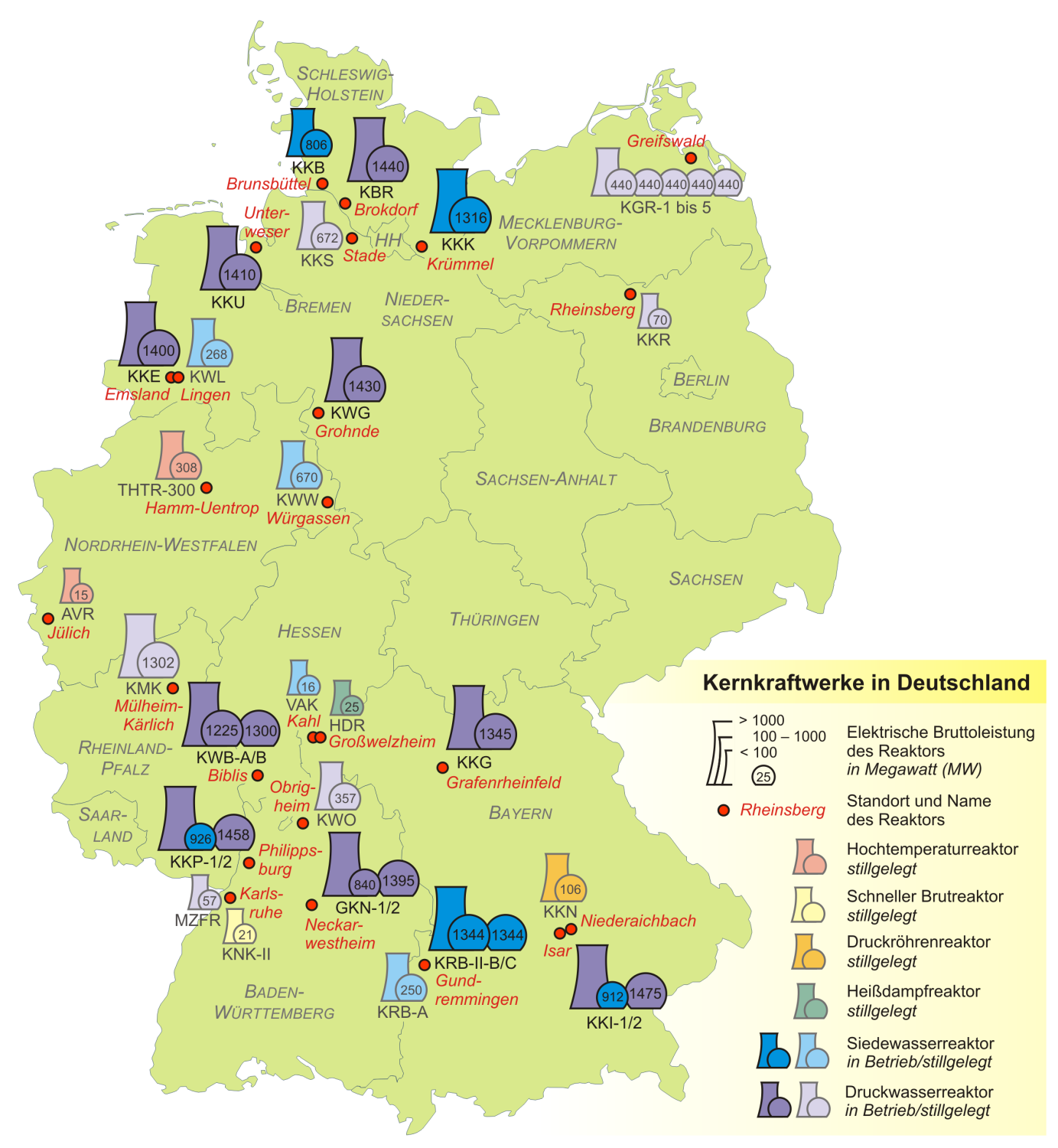 Map of Germany (Nuclear Plants in Germany) : Weltkarte.com ...