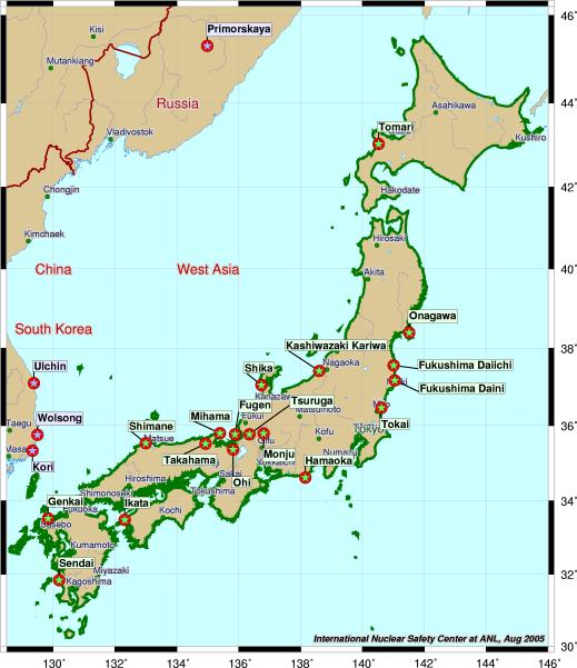 Japan Karte.Map Of Nuclear Plants In Japan Worldofmaps Net Online Maps And