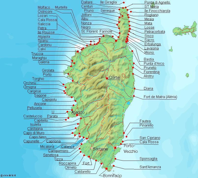 Map of Corsica (Topographic Map, Cities) : Worldofmaps.net - online ...