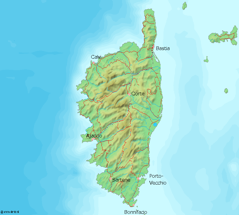 Map of Corsica (Topographic Map) : Worldofmaps.net - online Maps and ...