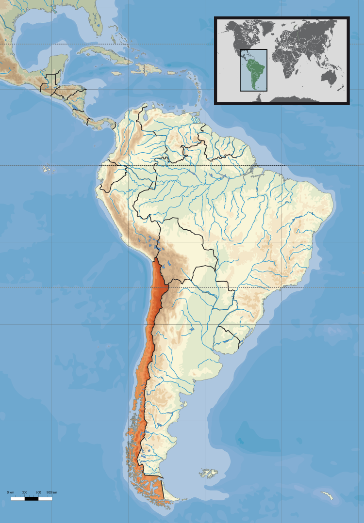 Map of Chile (Location within South America) : Worldofmaps.net ...